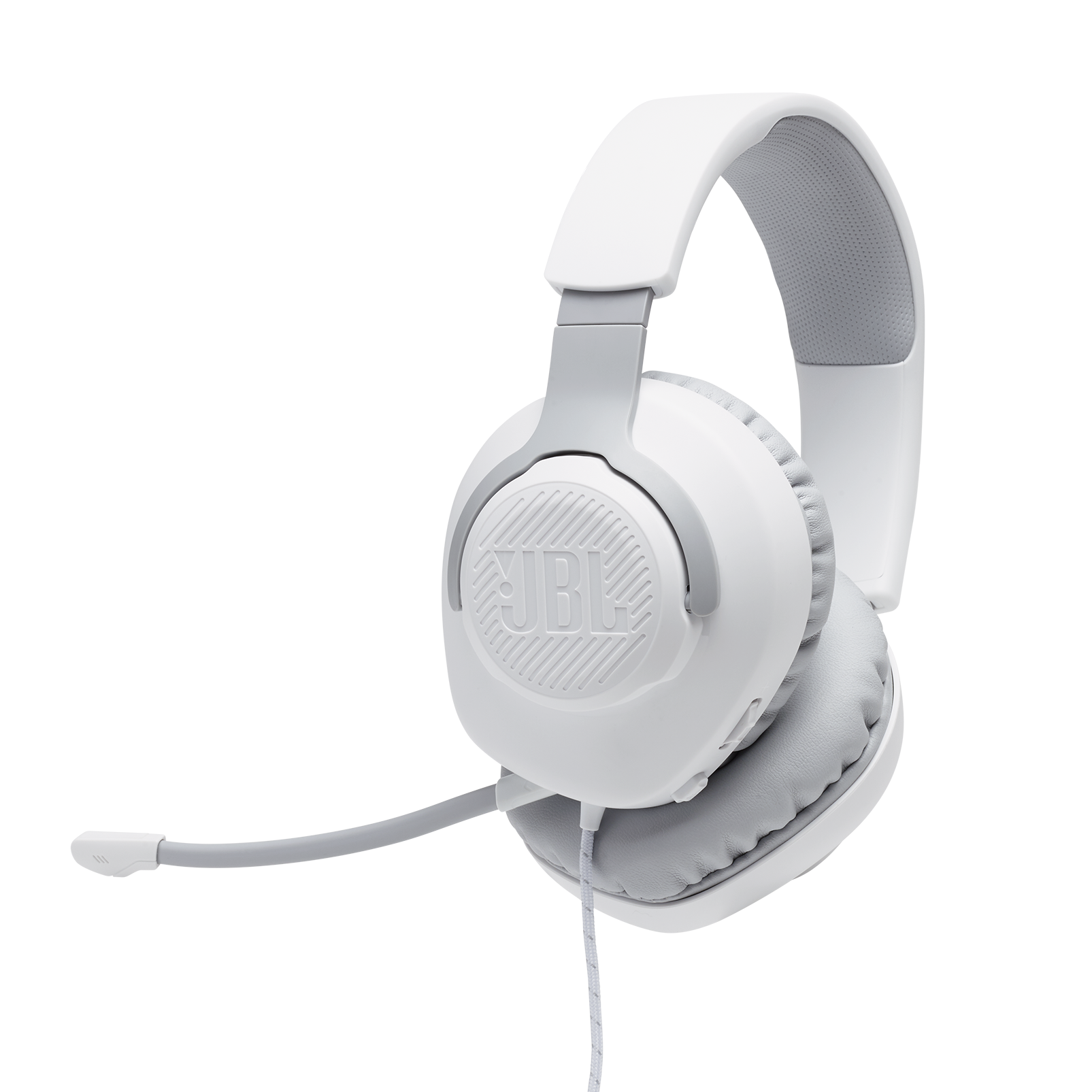 JBL Quantum 100 - White - Wired over-ear gaming headset with a detachable mic - Hero